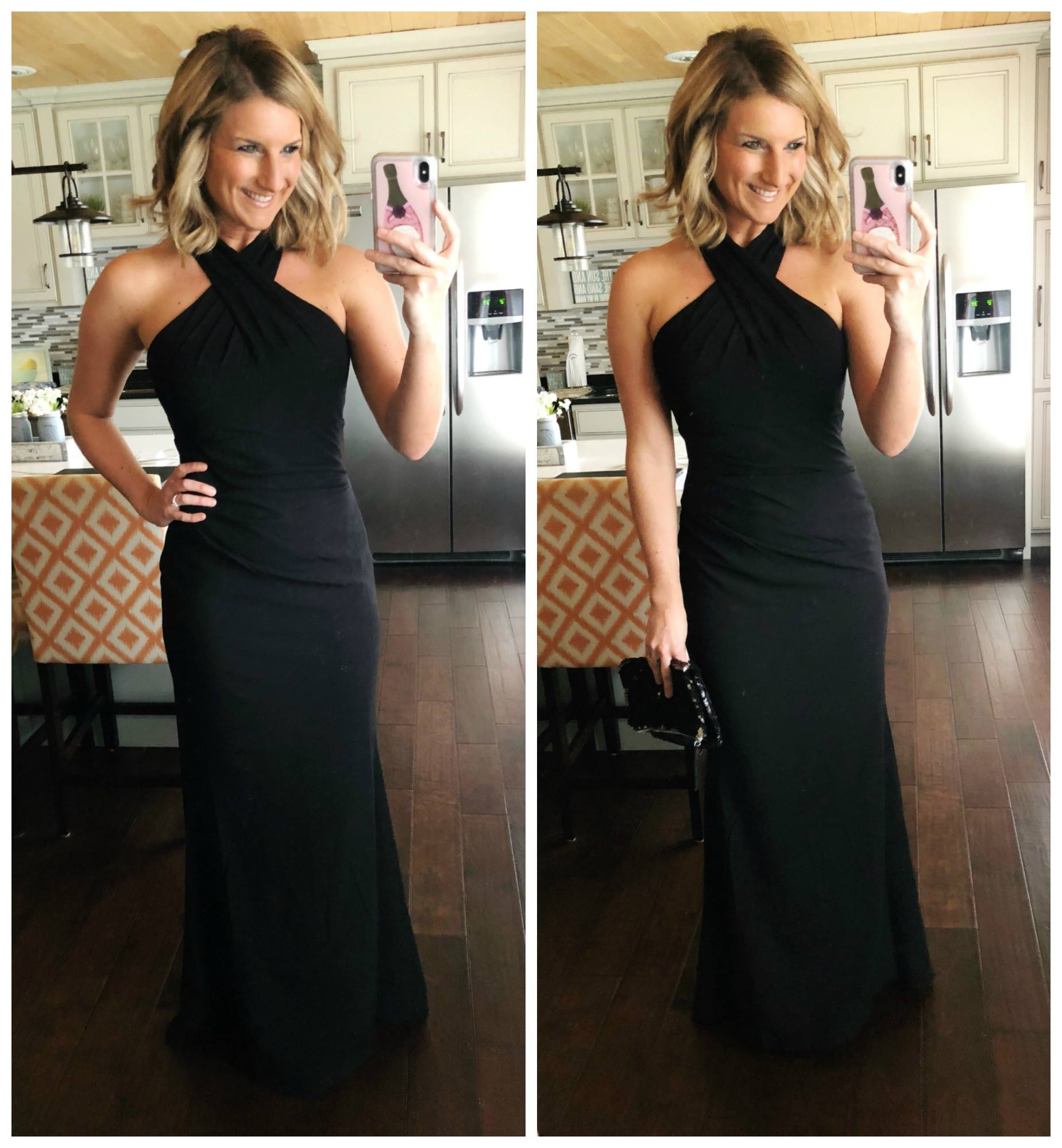 Event Gown // Long Black Crossneck Gown