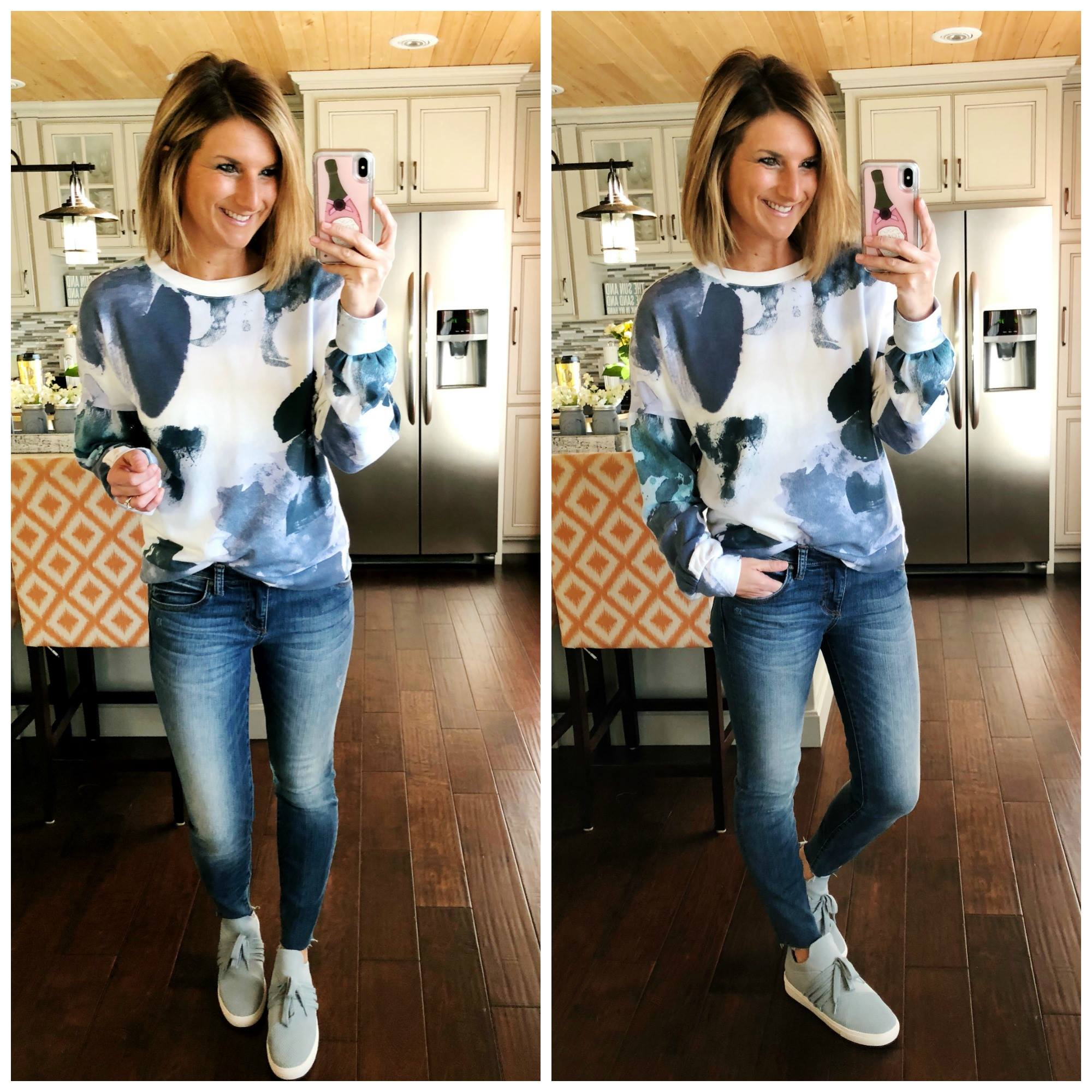 Watercolor Sweatshirt + Light Wash Jeggings + Light Blue Sneakers // Casual Spring Outfit