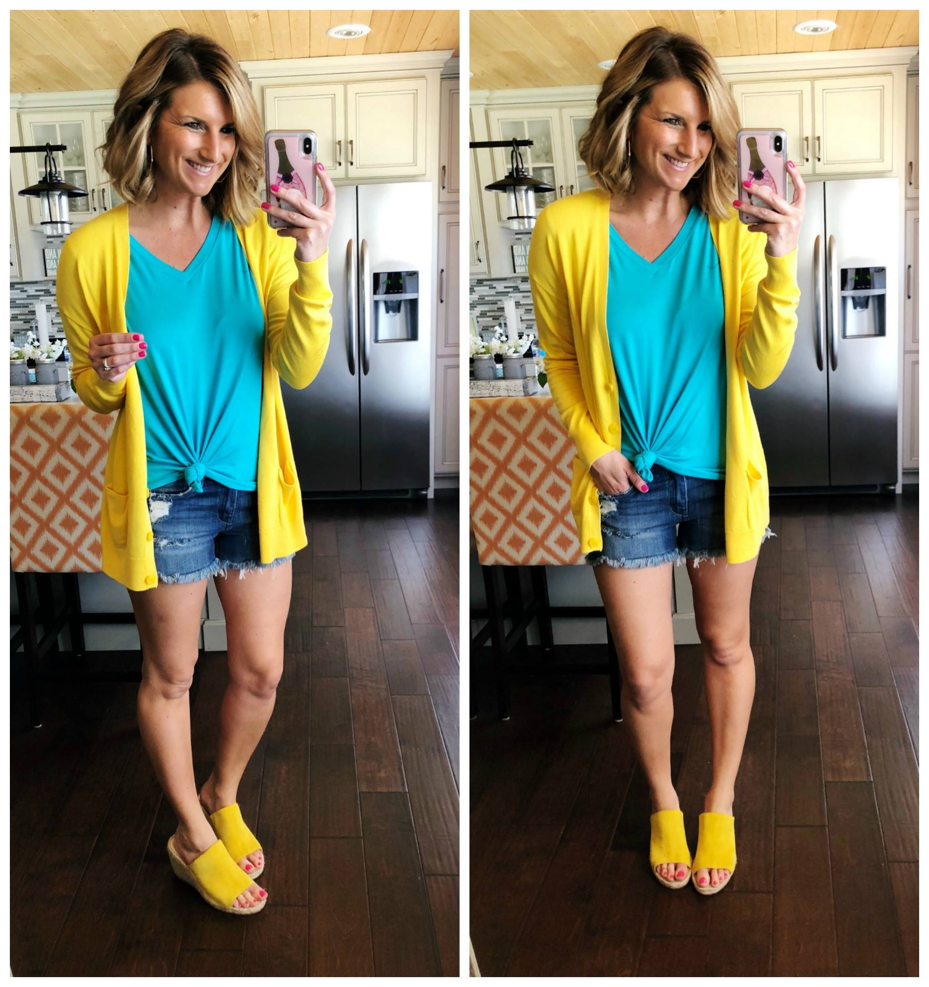 Casual Summer Outfit // How to Wear Bright Color Clothes // Perfect V Neck Top + Cut Off Shorts + Cardigan + Wedge Sandals