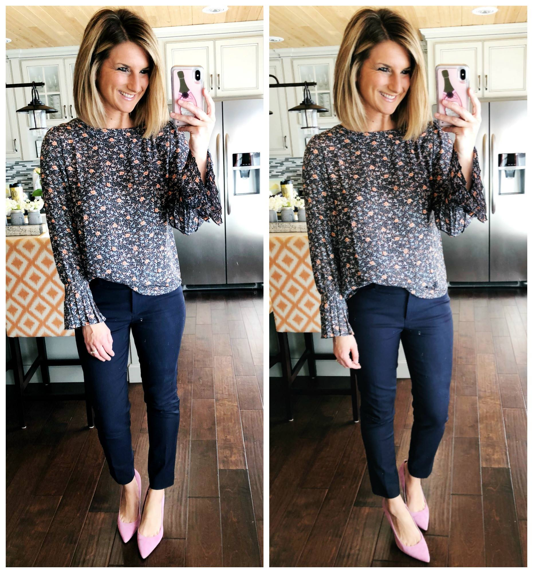 Casual Work Outfit // Work Wear // Floral Blouse + Navy Dress Pants + Heels // Spring Fashion