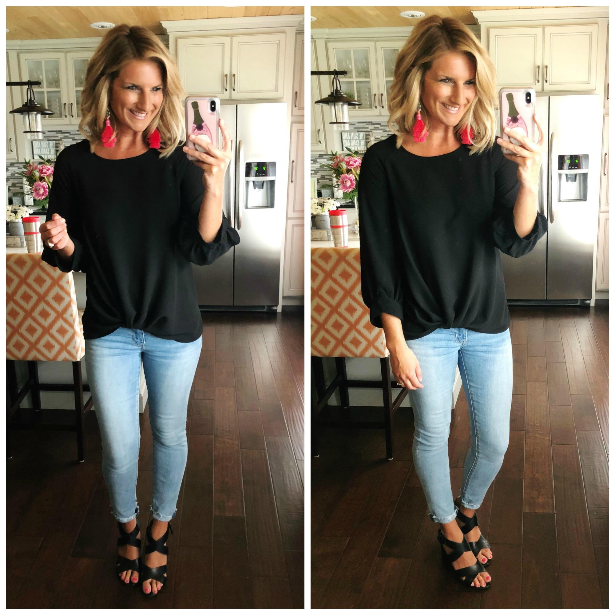 Spring Date Night Outfit // Perfect Date night outfit // How to Style a Twist Hem Top // Date Night Top + Cropped Jeggings + Block Heel Sandals + Statement Earrings