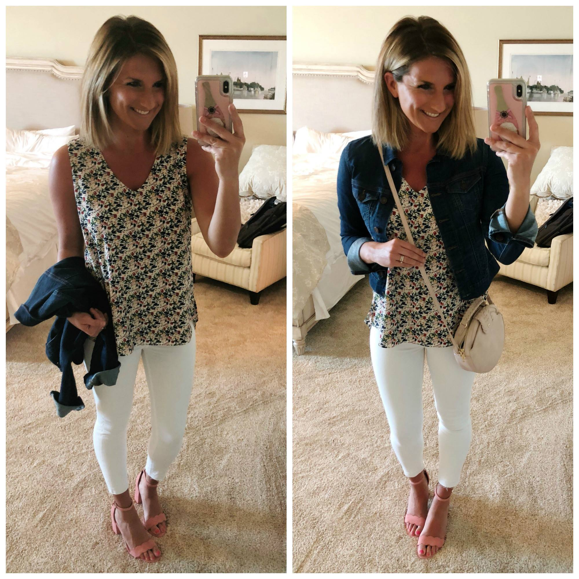 Perfect Spring Outfit // Floral Tank + White Jeggings + Heeled Sandals + Jean Jacket + Crossbody Purse // Spring Fashion