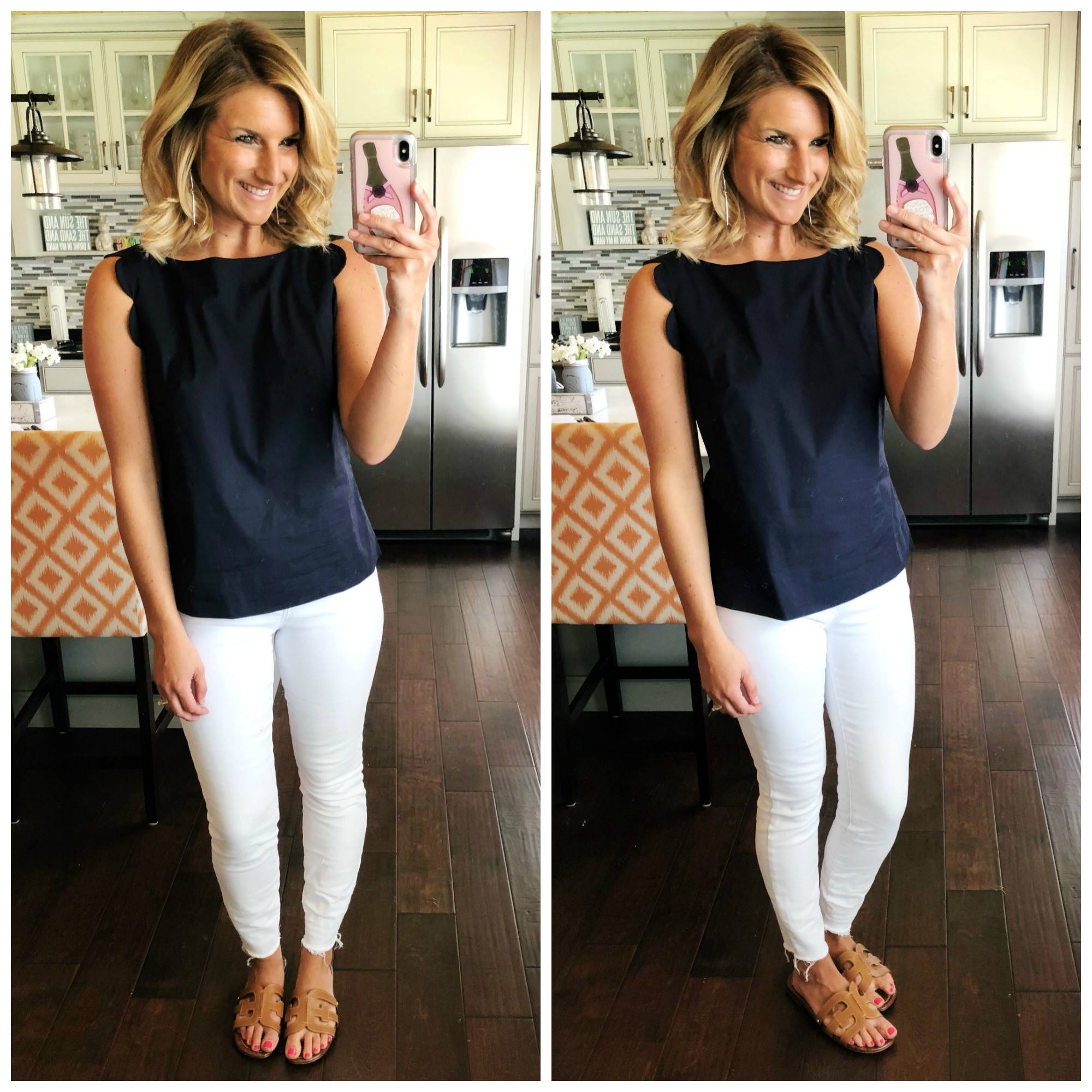 Work to Play Outfit // Work Outfit Inspiration // Scalloped Tank with non sheer white jeans and slide sandals