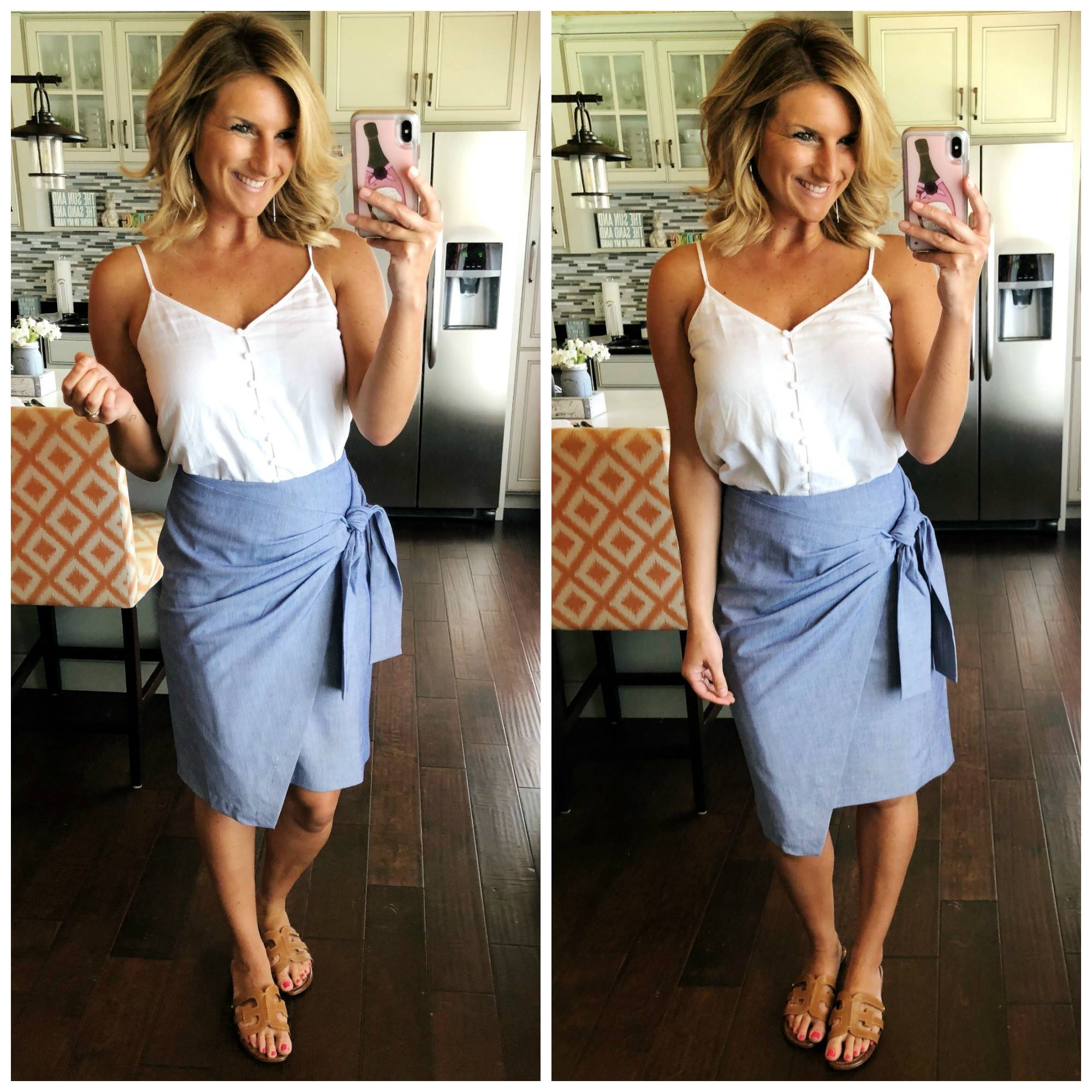 Business Casual Outfit // What to Wear to Work // Button Up Camisole with a Pencil Skirt and Slide Sandals // How to Tuck a Top into a Skirt