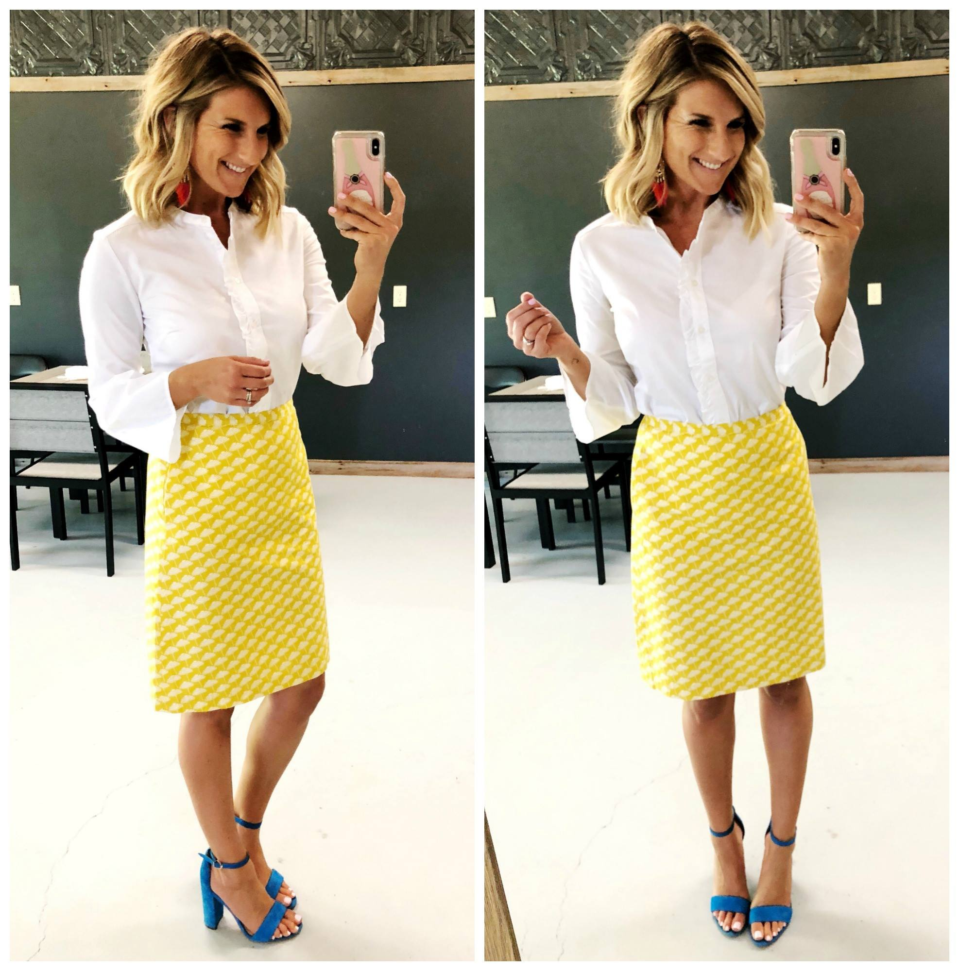 Work Wear // What to wear for work in the Spring and Summer // How to style a printed skirt // Statement heels