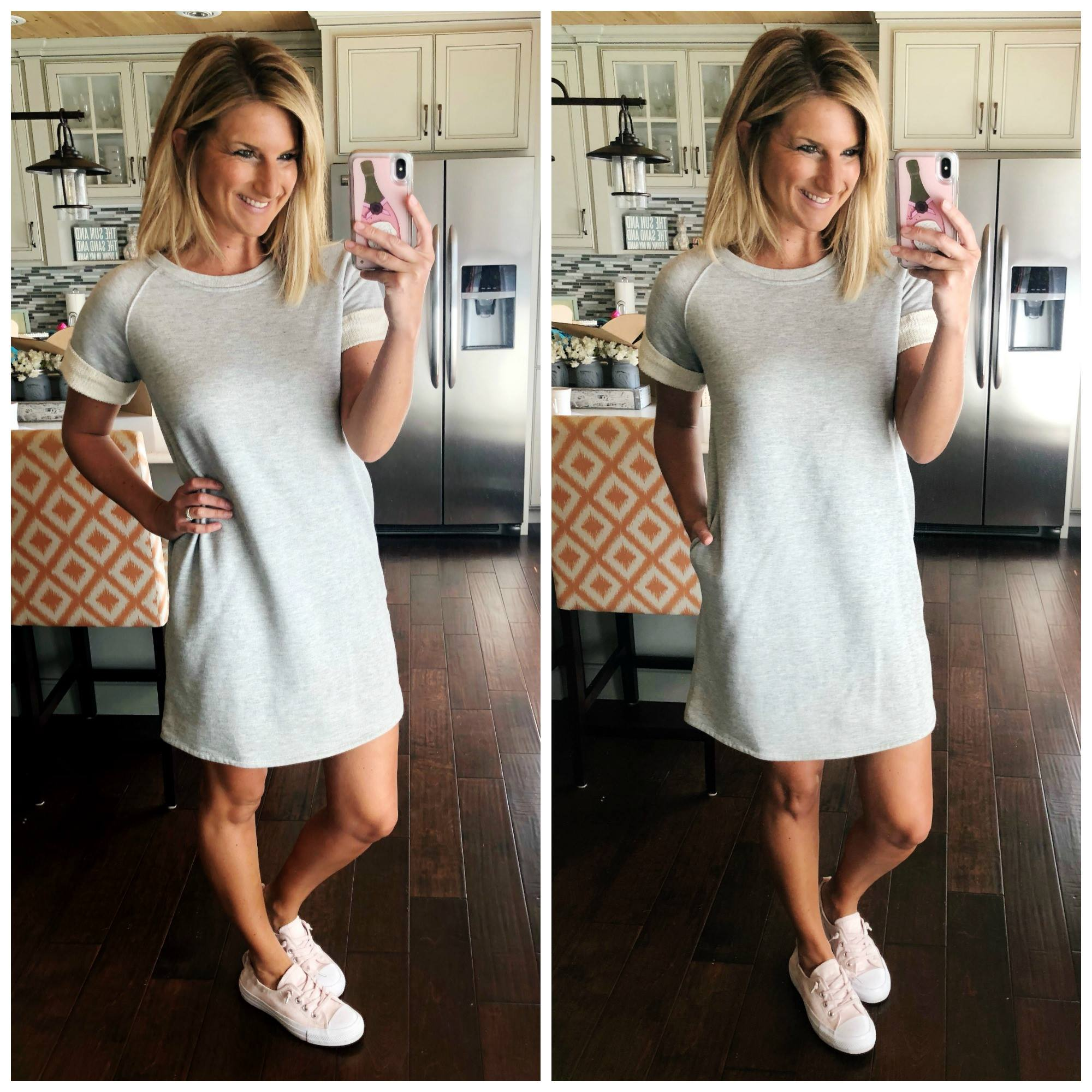 Perfect Shift dress for Spring and Summer // Grey French Terry Dress and Slip On Sneakers // Spring Fashion // Blush Sneakers