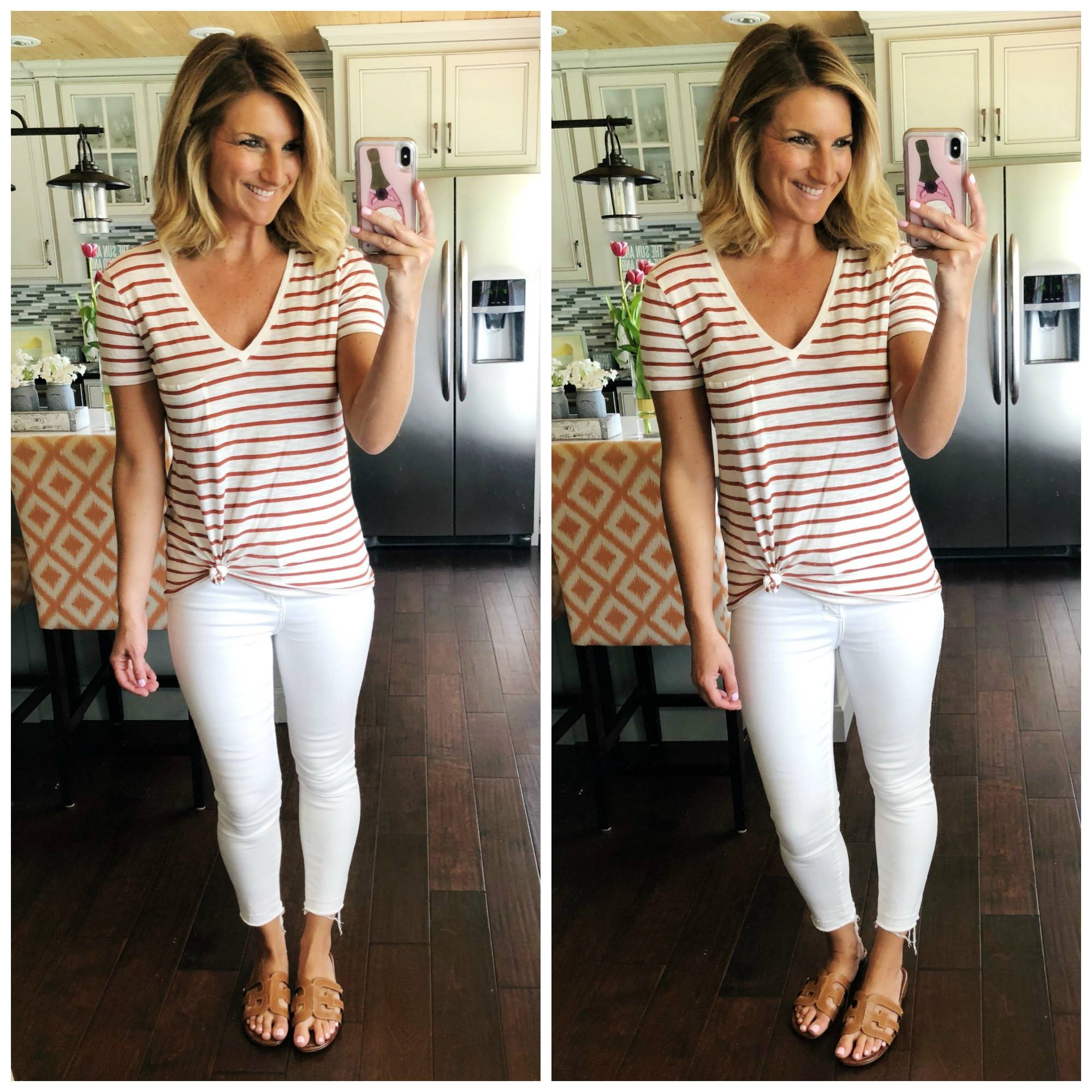 How to tie a tee // what to wear with white jeans // v neck top with white jeans and slide sandals