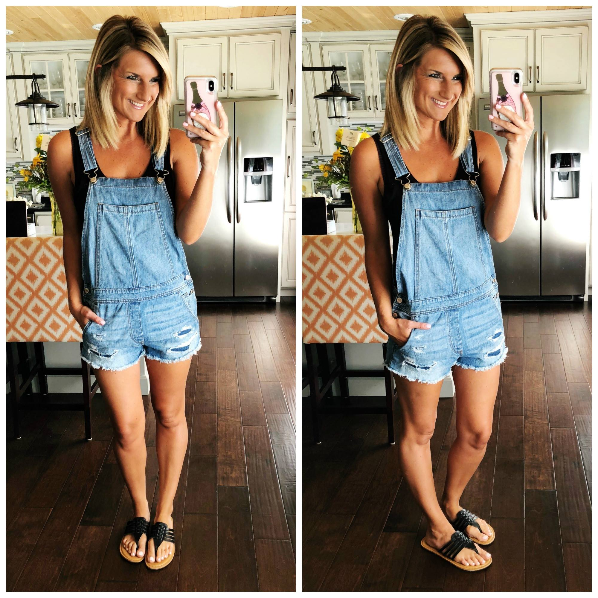 What to wear with overalls // Essential tank top // Comfortable sandals