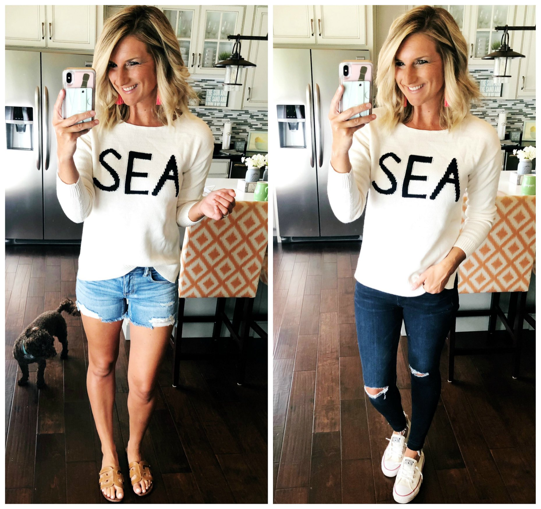 Summer Sweater // What to Wear with a Sweater in the Summer // White Sweater for cooler Summer Nights and Boat Rides // Outfit of the Day