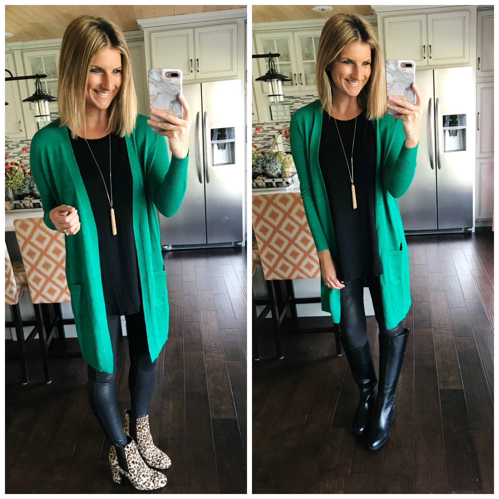 How to Wear Faux Leather Leggings With a Long Cardigan
