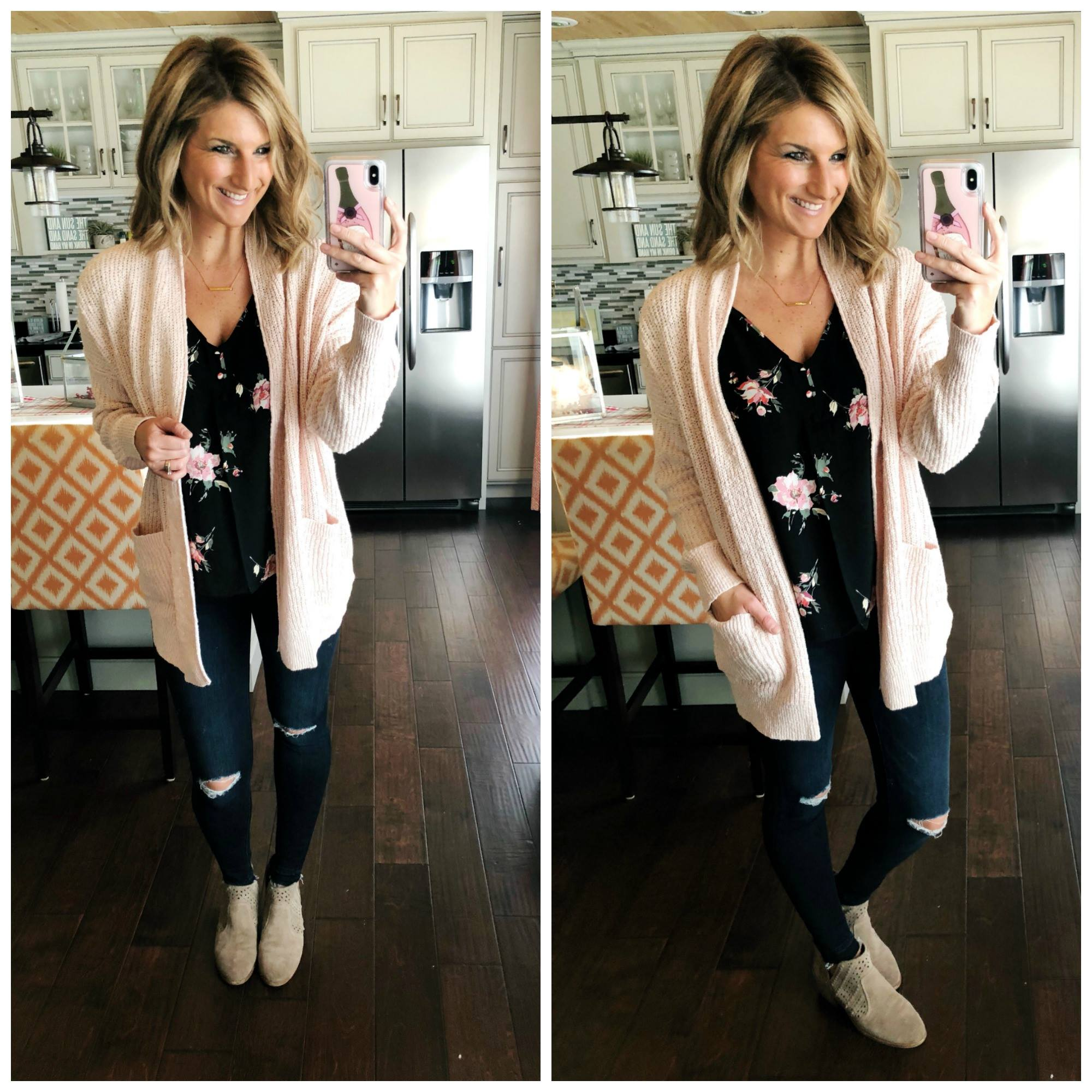 Cute Spring Outfit // Floral Top + Distressed Jegging + Blush Cardigan + Booties