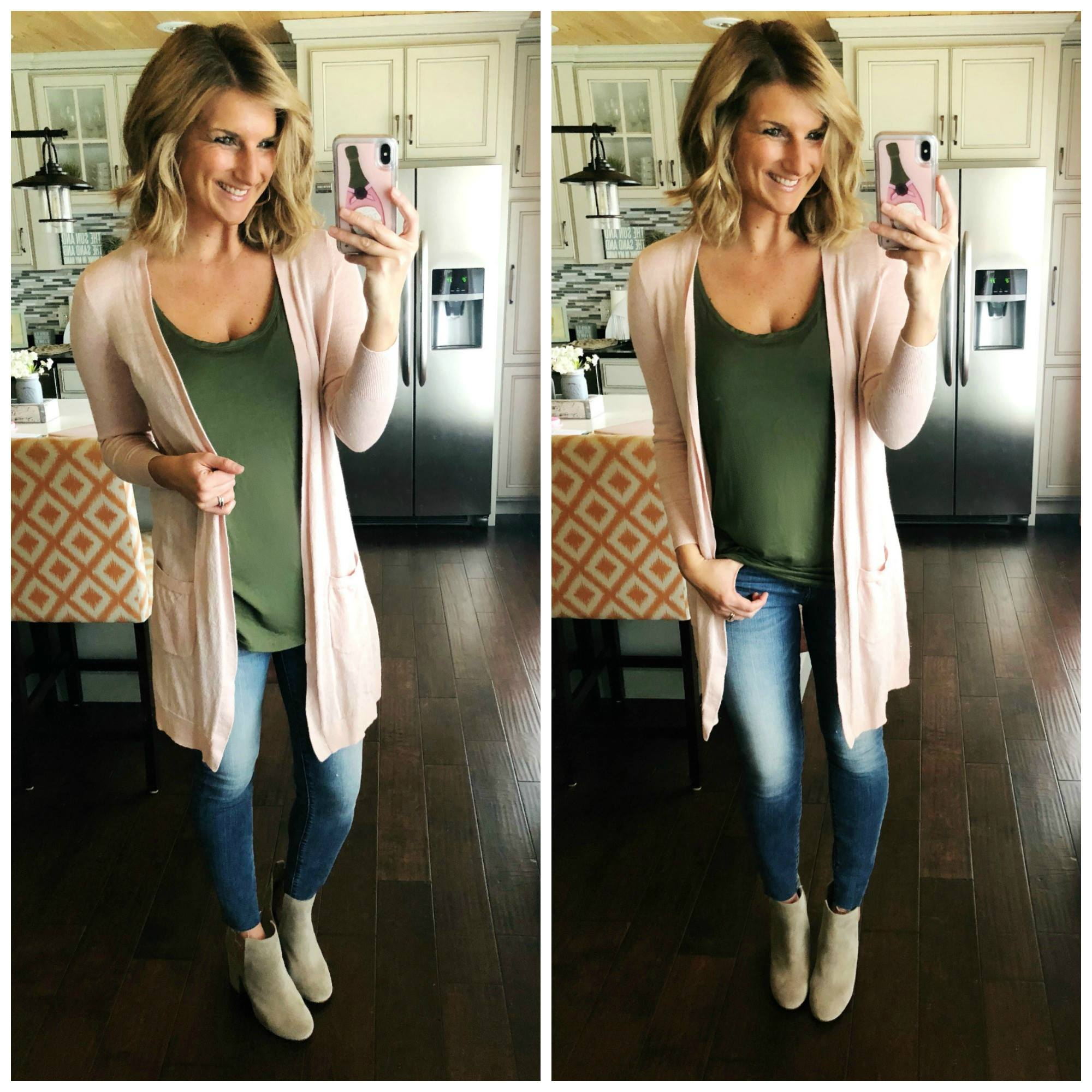 Casual Spring Outfit // Relaxed Tank Top + Blush Cardigan + Skinny Jeans + Tan Booties
