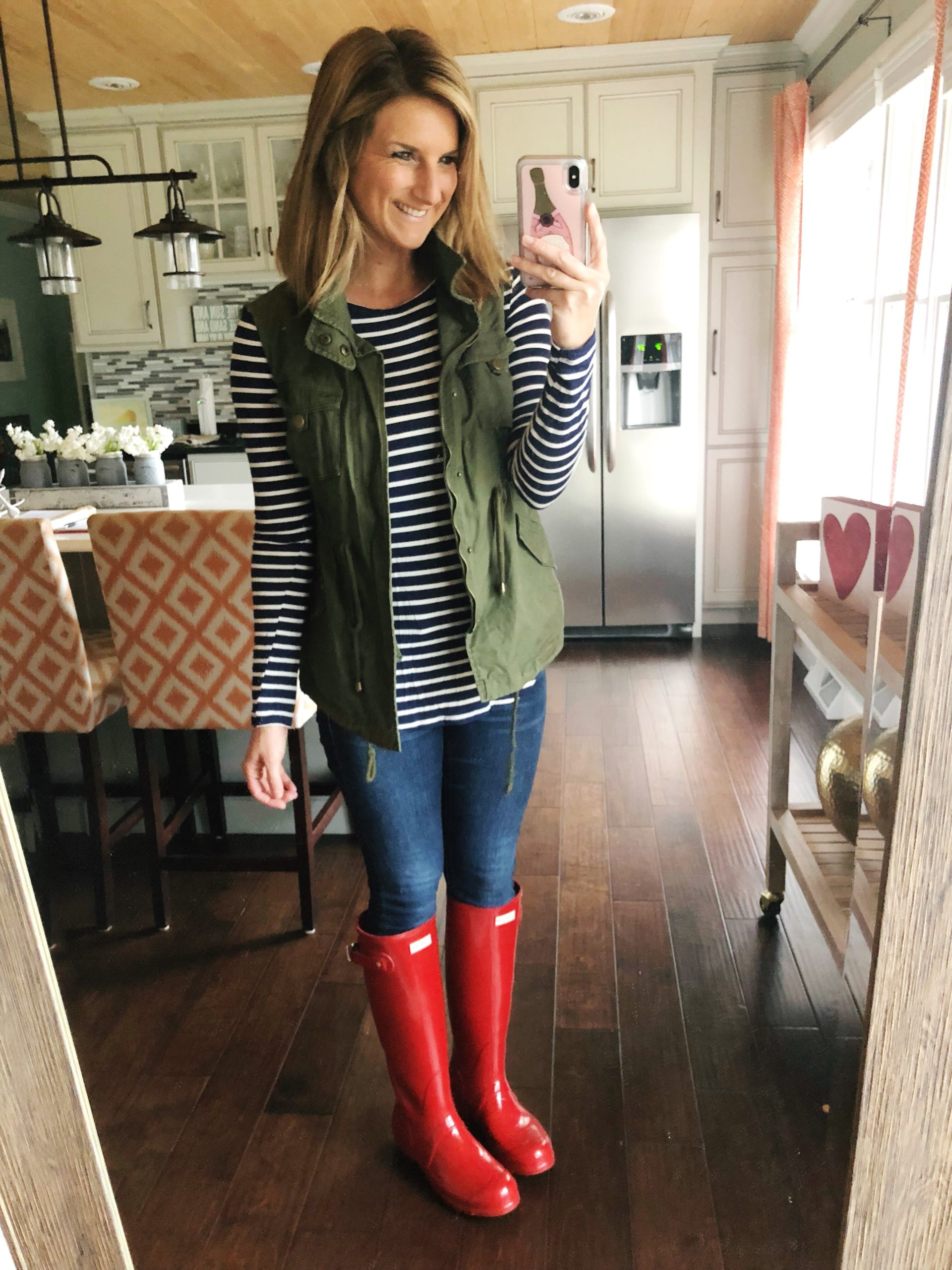 Striped Top + Jeggings + Military Vest + Hunter Boots // Spring Fashion