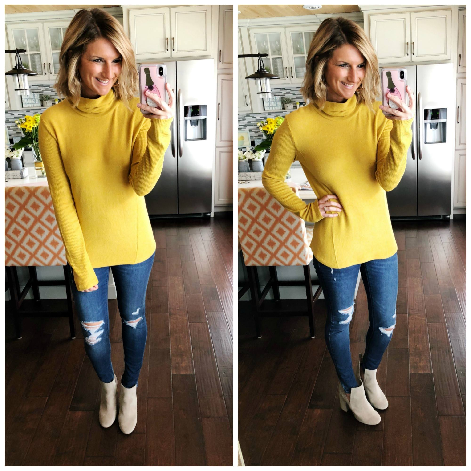 Spring Sweater // Yellow Sweater + Pull On Jeggings + Cutout Booties