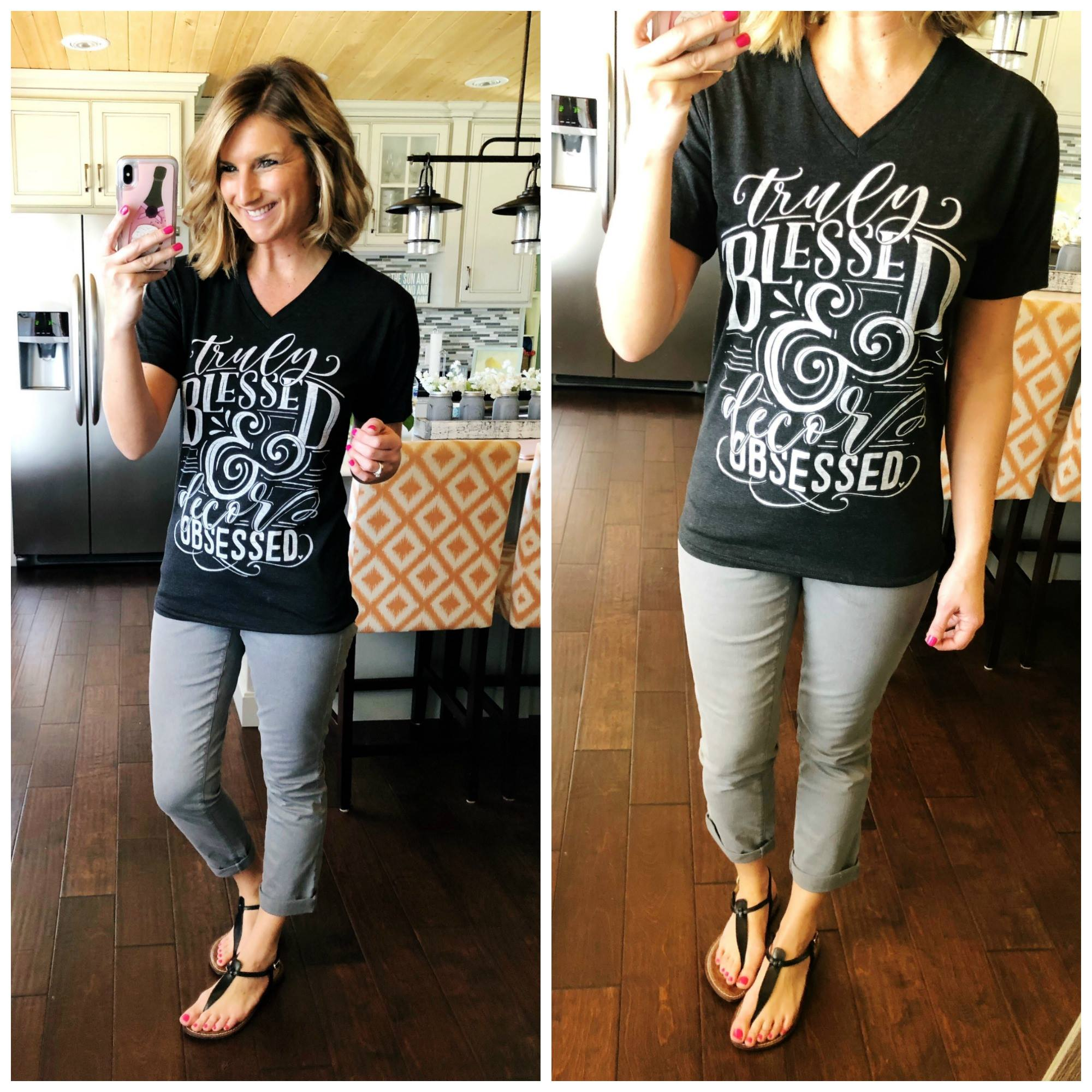 Graphic Tee + Grey Cropped Skinny Jeans + Sandals // Spring Fashion // How to Wear Grey Skinny Jeans