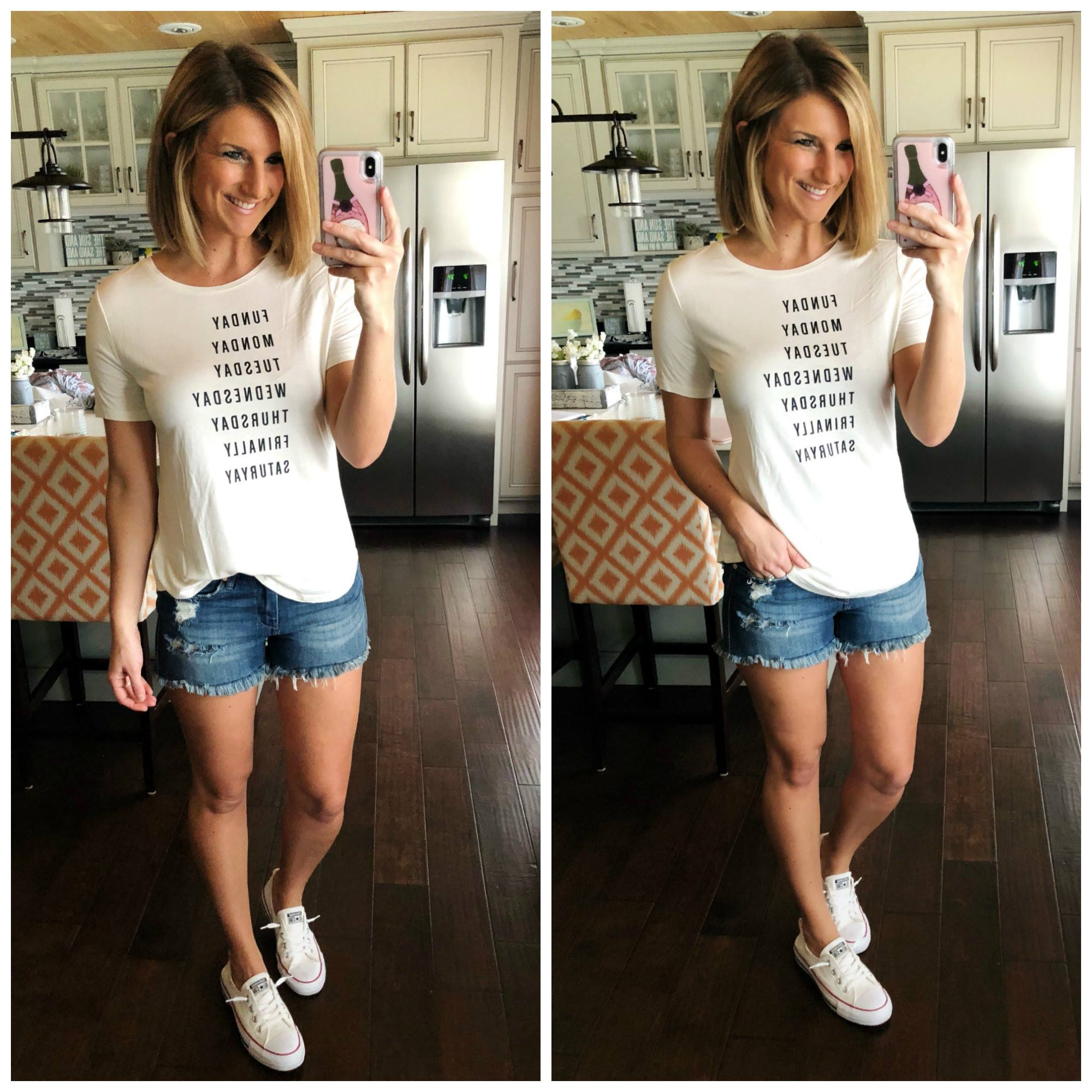 Graphic Tee + Cutoff Shorts + Converse Shoreline Sneakers // Casual Spring Outfit