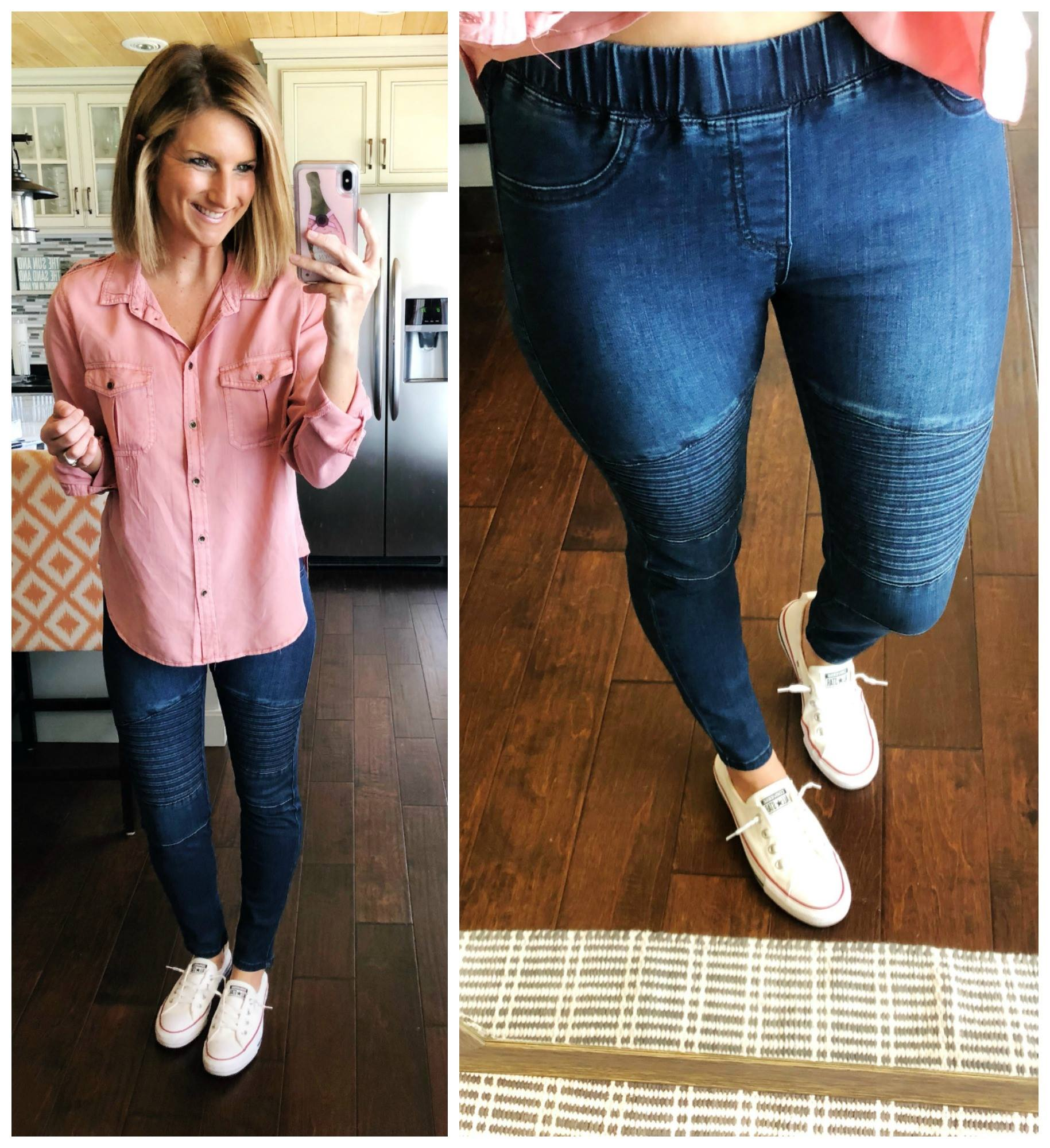 Casual Spring Outfit // Button Up Shirt + Pull On Jeggings + Converse Sneakers