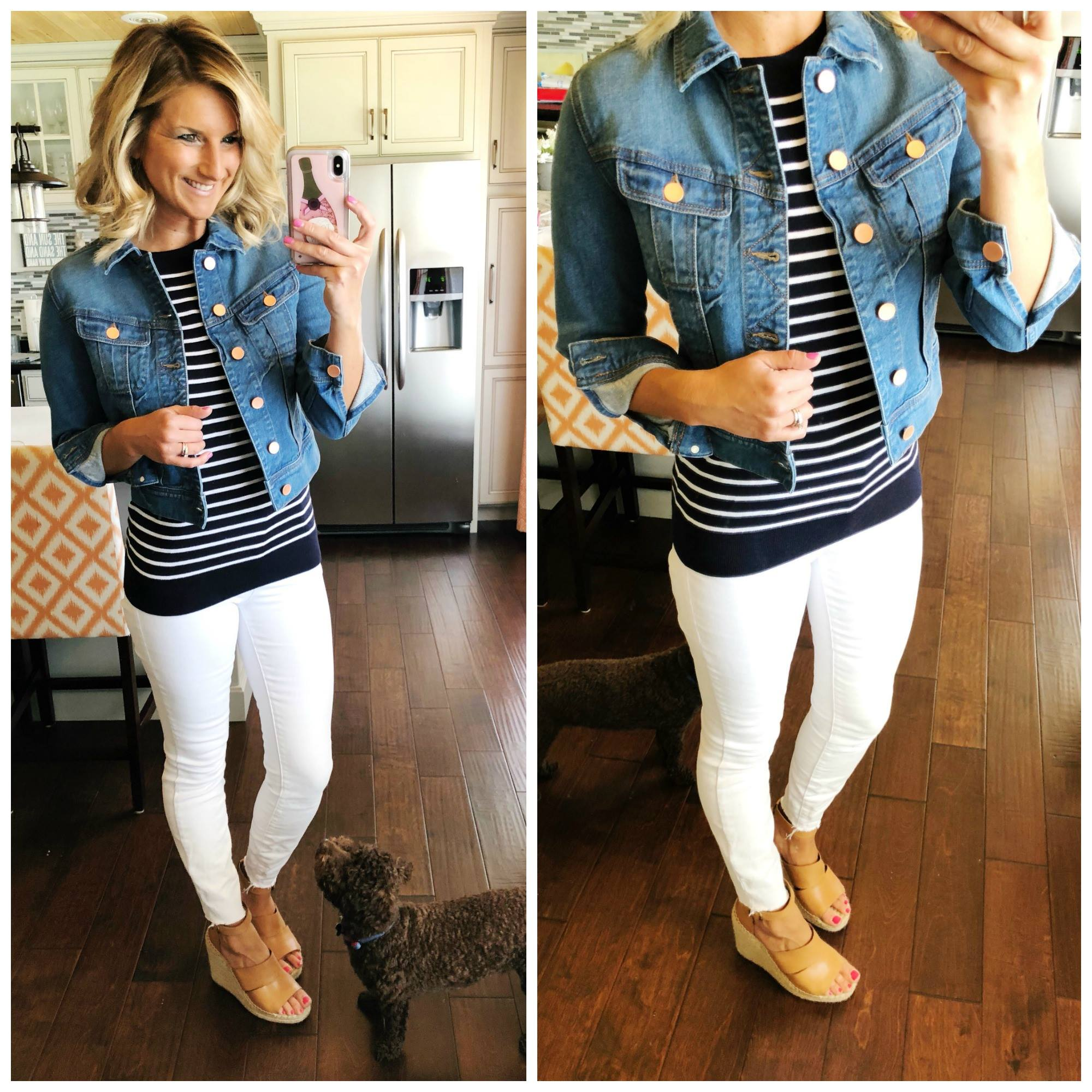 d0e99c19b50 Perfect Denim Jacket    Cropped Denim Jacket    Navy and White Striped Top  with