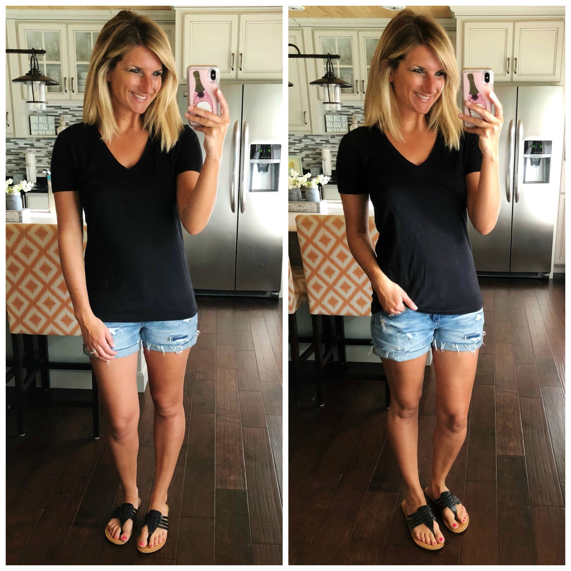 Non Sheer Black V Neck Tee perfect for Spring and Summer // Distressed Cuffed Shorts // Spring and Summer Fashion