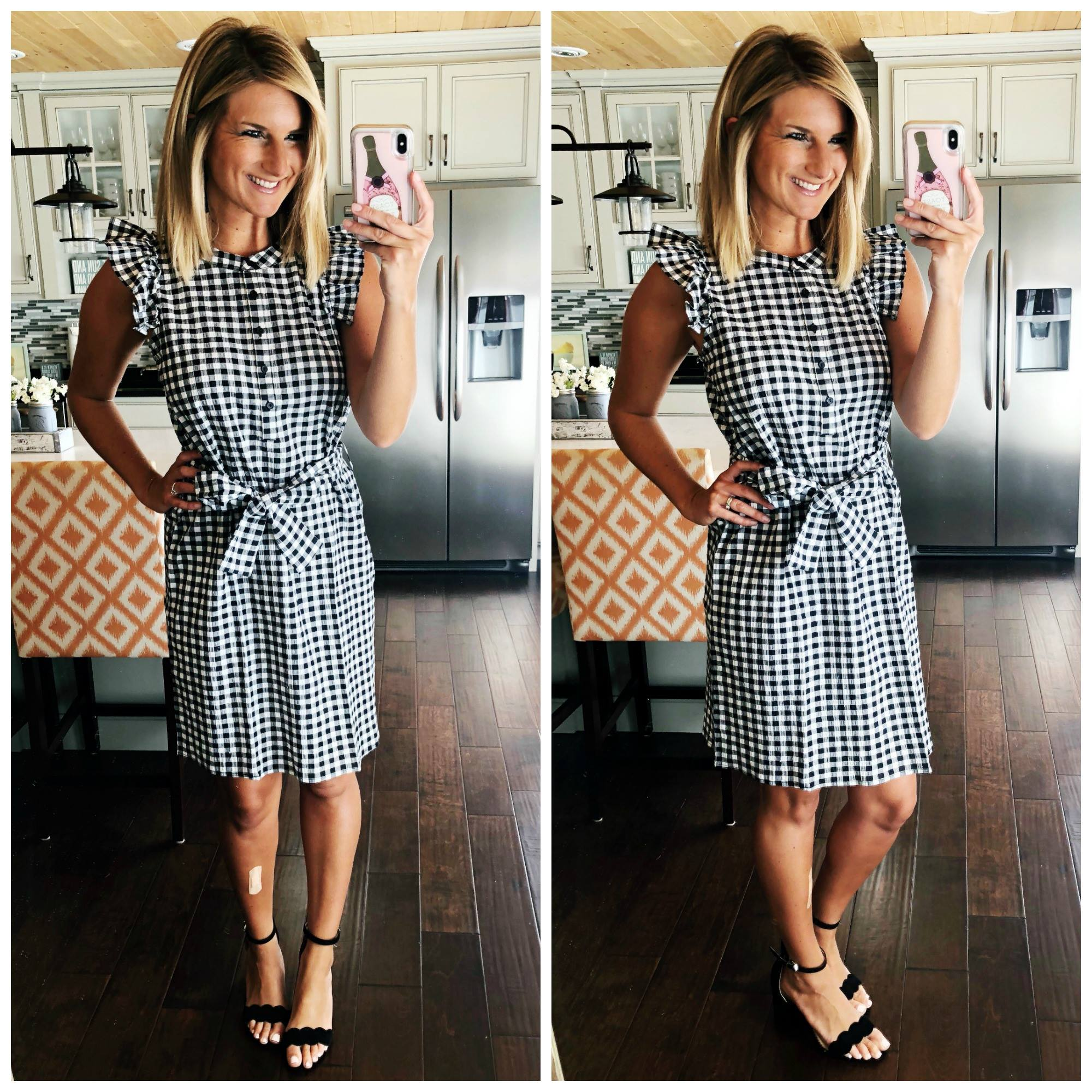 Summer Dress // Gingham Dress with Scalloped Heels // Dress for a wedding, reunion, bridal shower