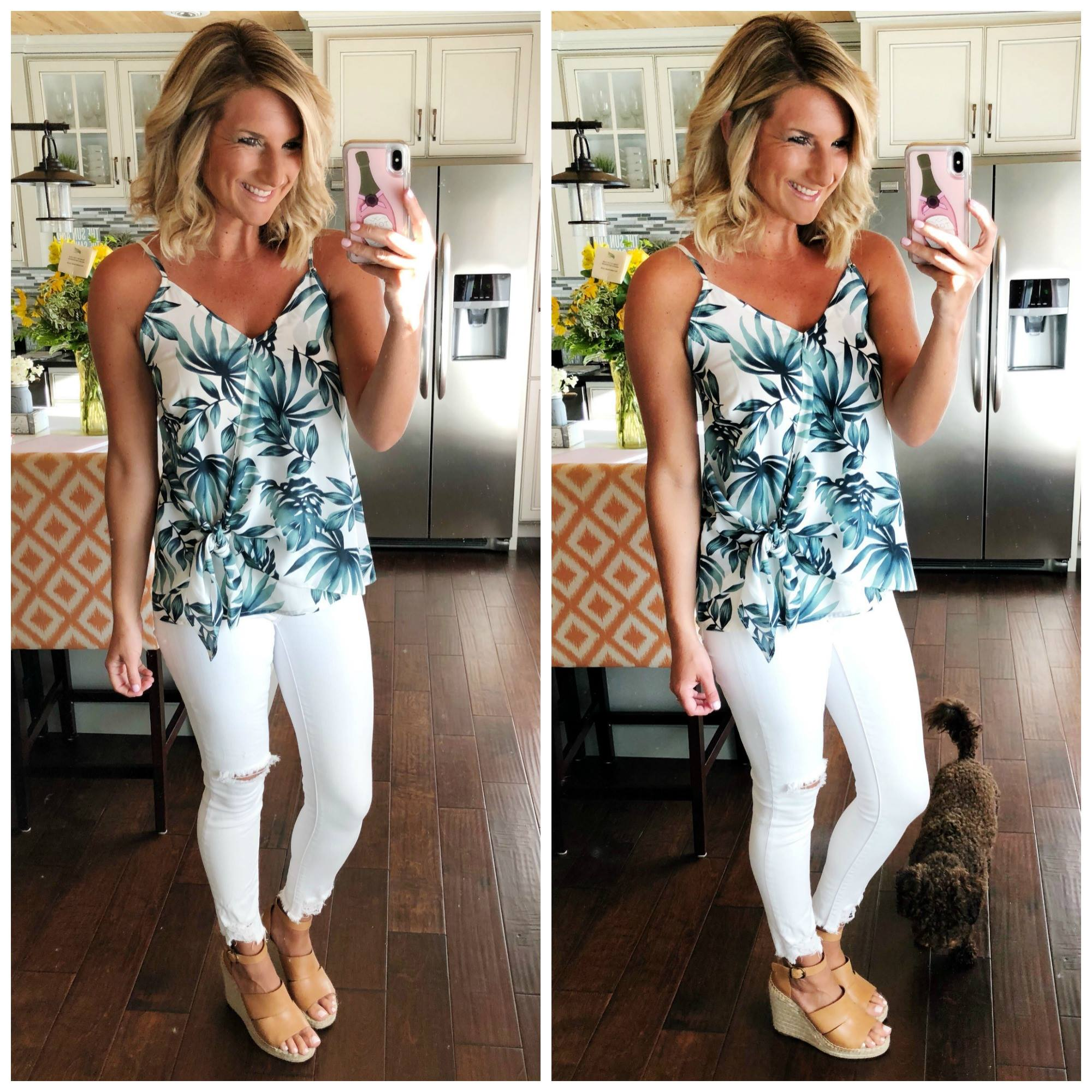What to Wear with White Jeans in the Summer // Faux Wrap Top with White Jeans and Wedge Sandals // Palm Print Top