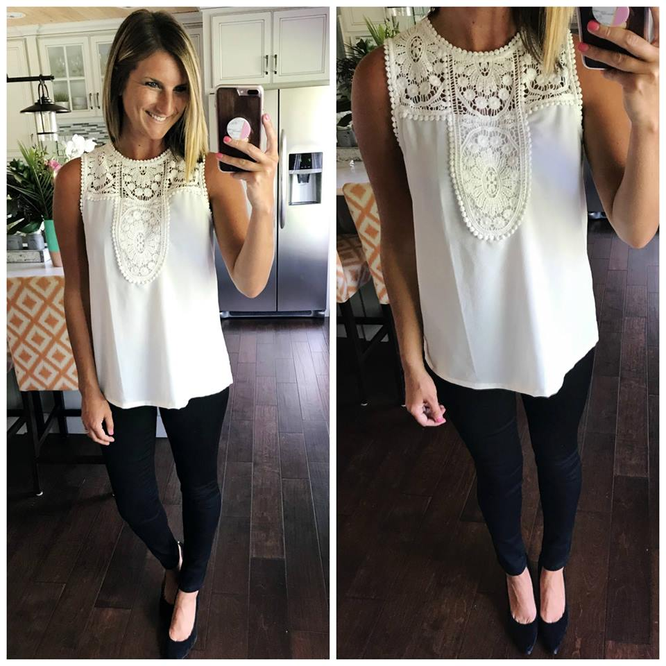White Lace Top with Black Skinny Jeans and Pumps // Work Wear // Work Outfit Inspiration