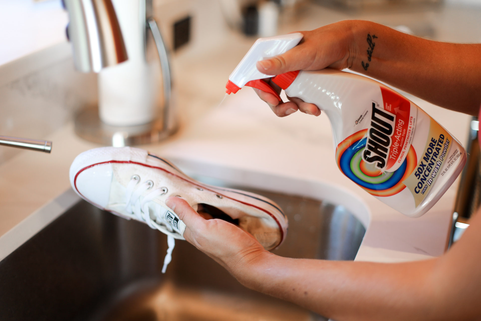 cleaning your converse with shout