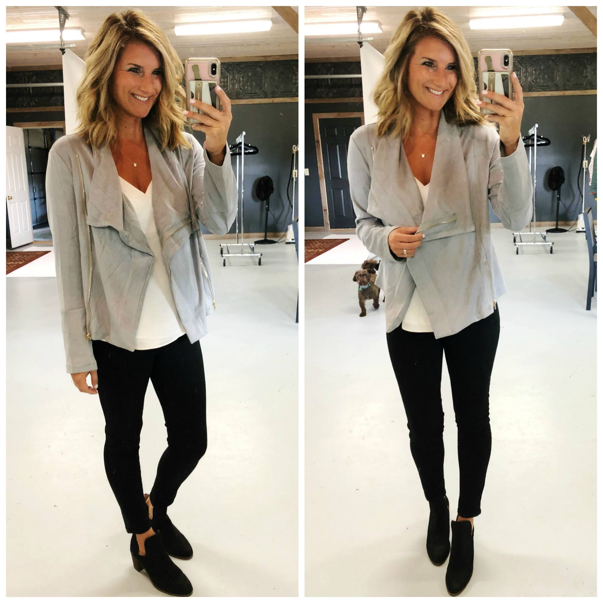 Layering Cami with Black Denim and Drape Front Jacket // Night Out
