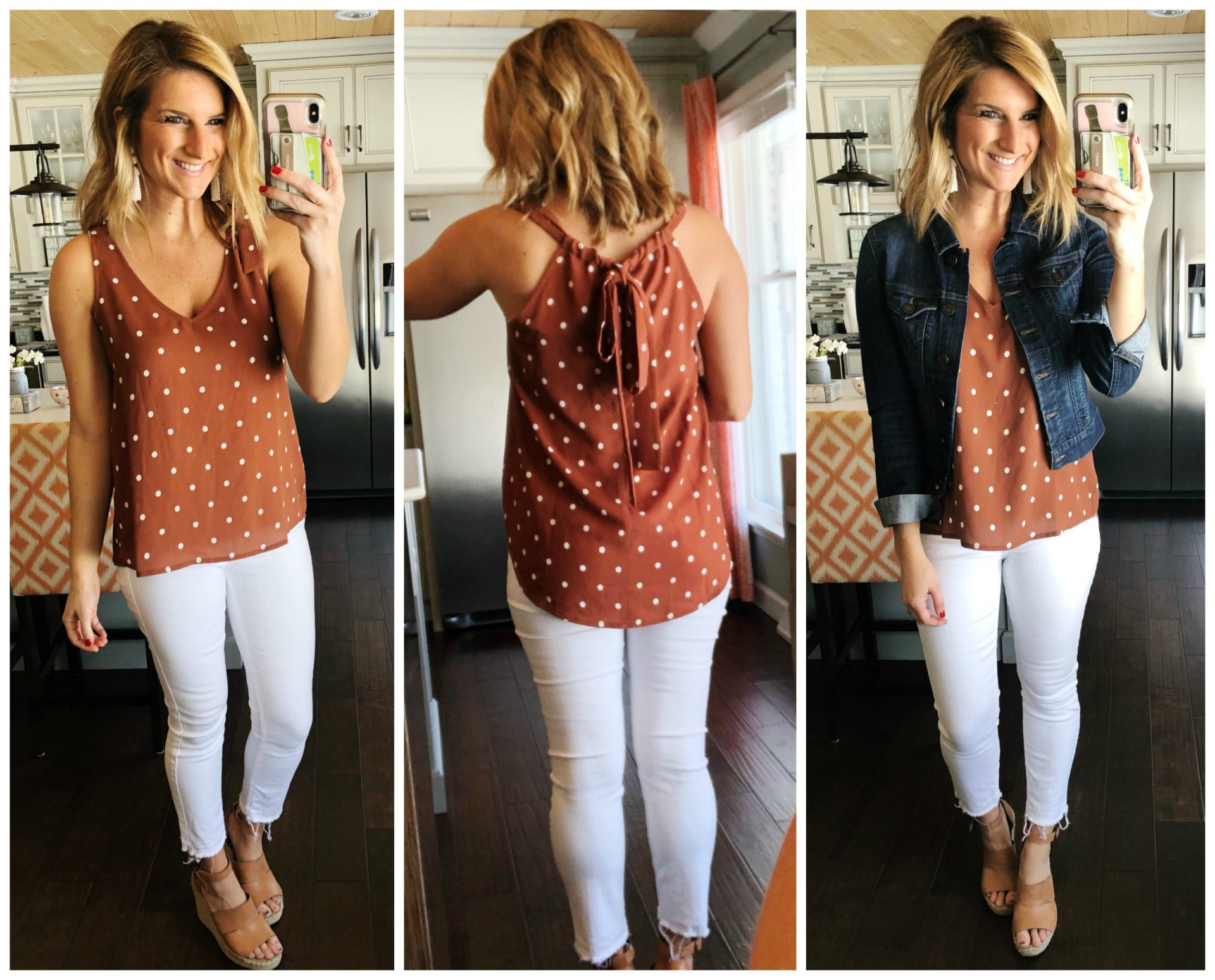 Cute Summer Outfit // Transitional Outfit // Denim Jacket // White Skinny Jeans // Polka Dot Top // Spring Fashion