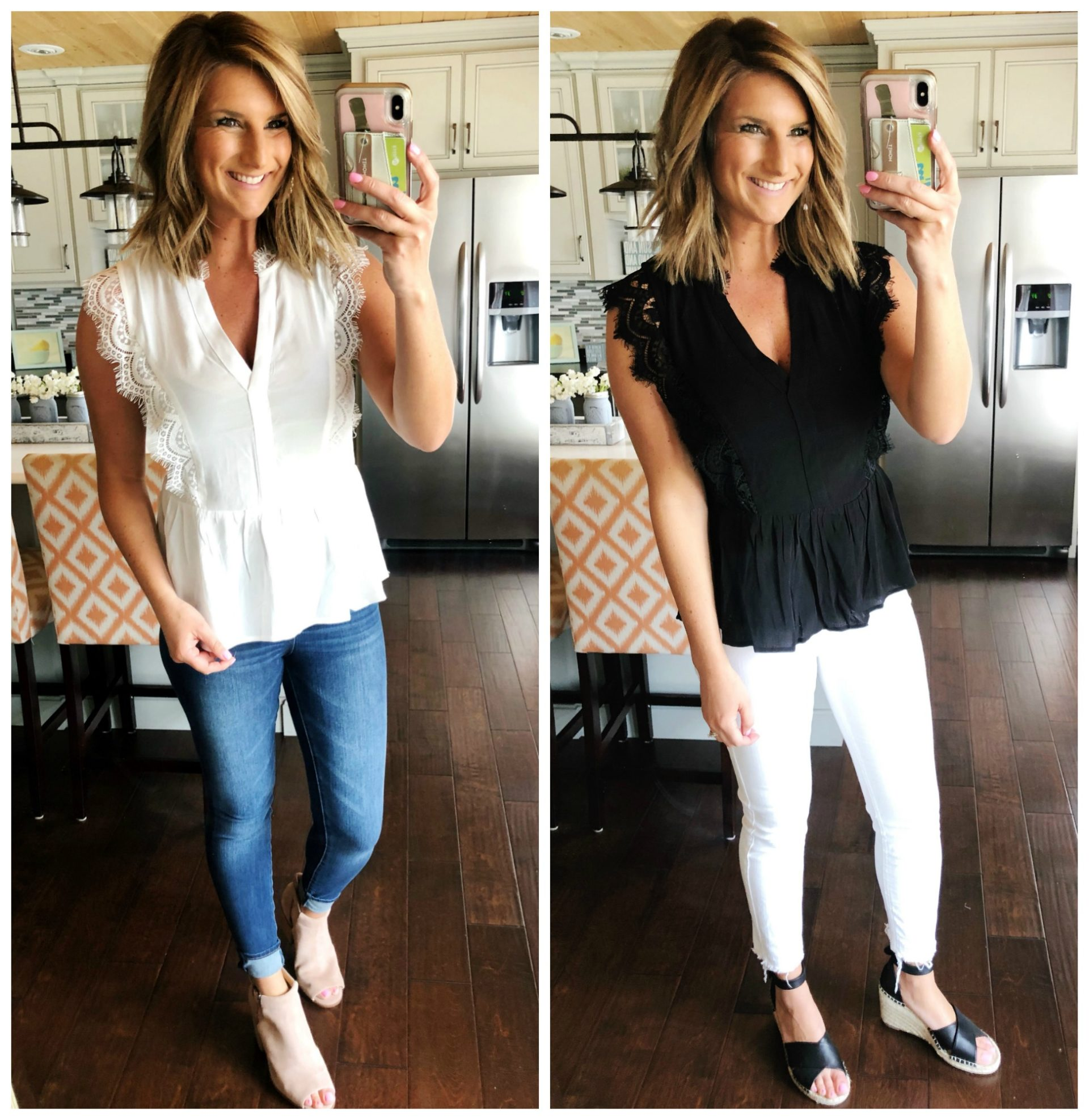 Feminine Lace Top // The Best White Jeans for Spring // The Best Jeans for your Body