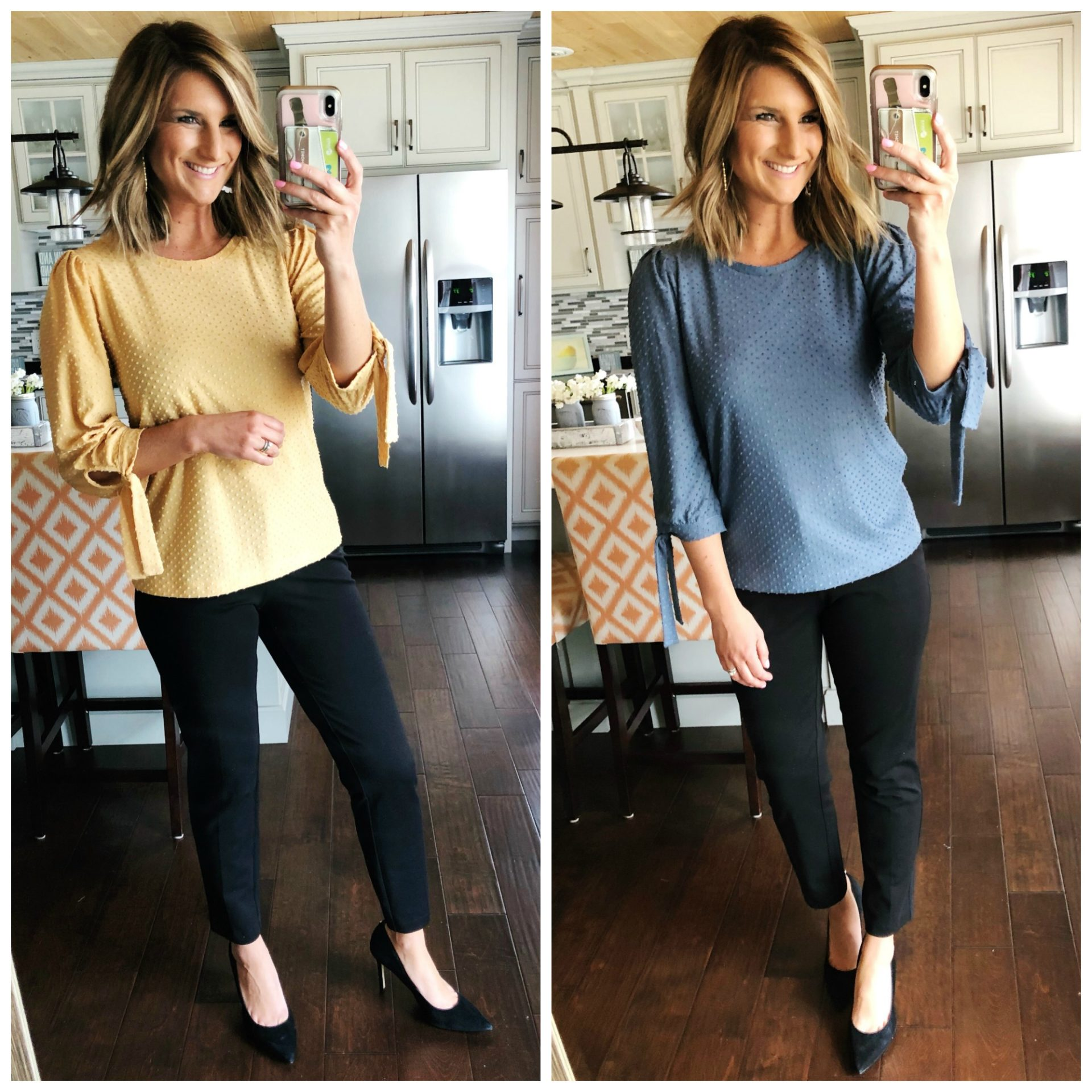 Cute and Comfortable Work Outfit // Best Work Pants // Tie Sleeve Top