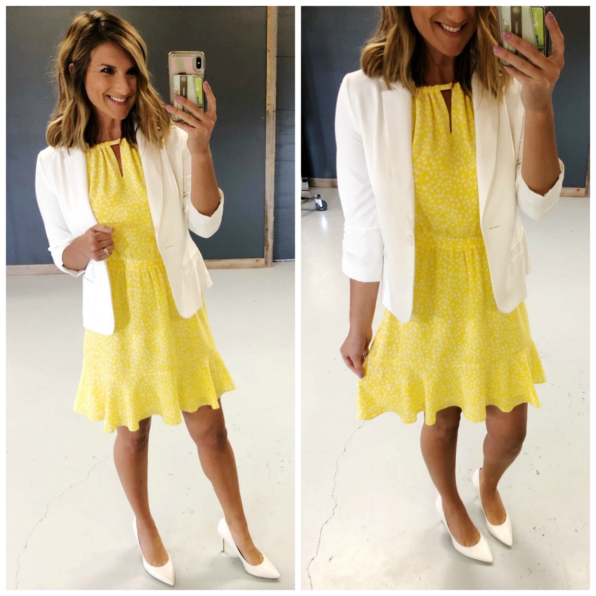 How to style a dress for work // What to wear with a white blazer // Spring Work Outfit